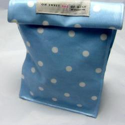 oilcloth Lunch Bag - Spots - White On Blue