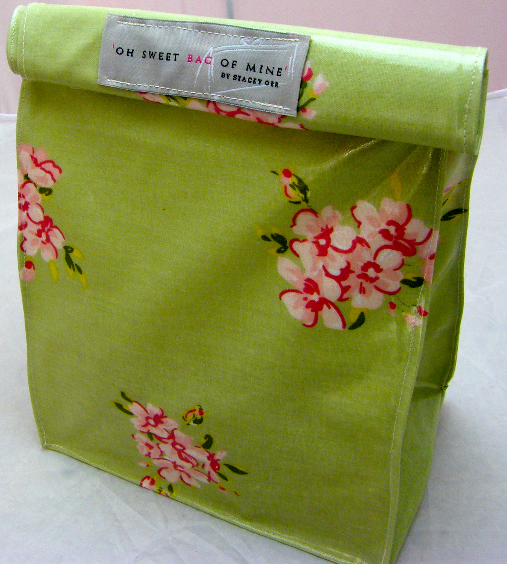 Oilcloth Lunch Bag Flowers On Green On Luulla